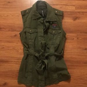 Military style green vest